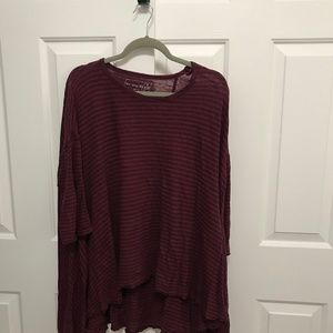 Free People Red & Blue Striped Over Sized Top